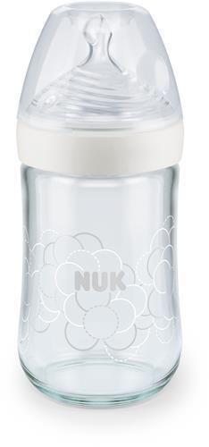 NUK Nature Sense Glas-flaska vit 240ml